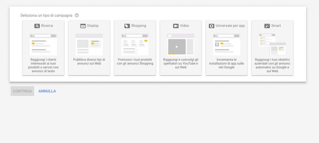 Tipi di Campagna di Google ADS