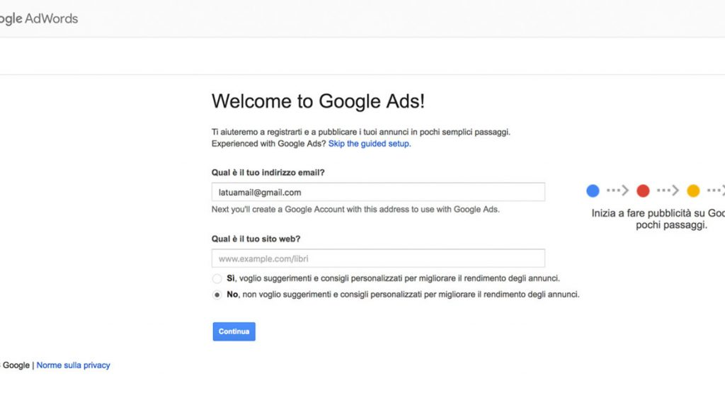 Creazione account di Google ADS