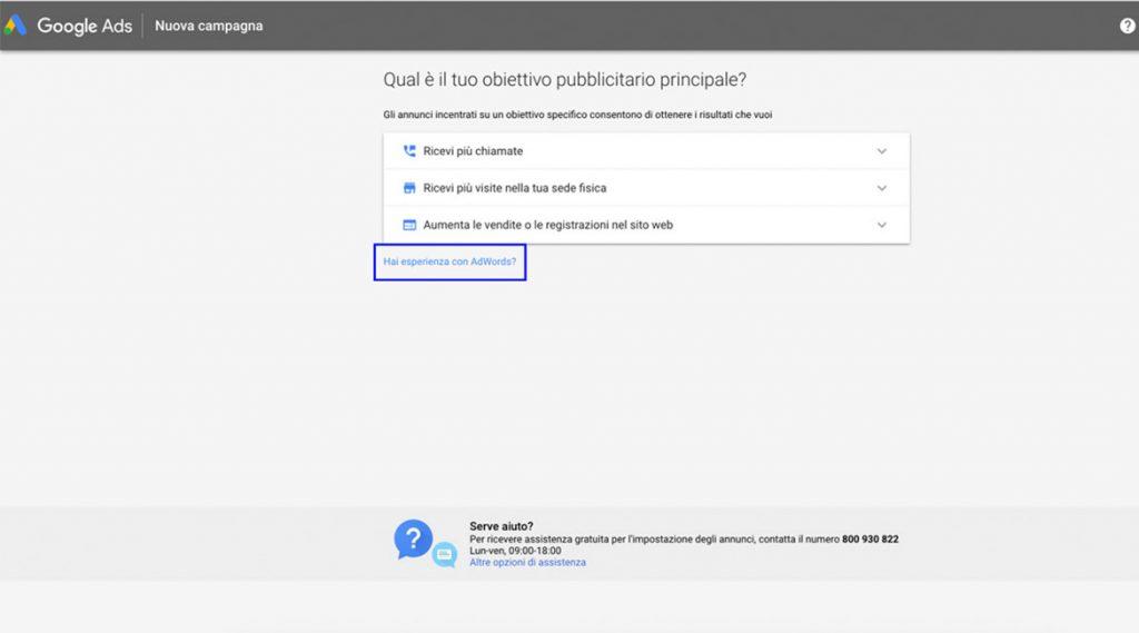 Obiettivo principale della Campagna di Google ADS