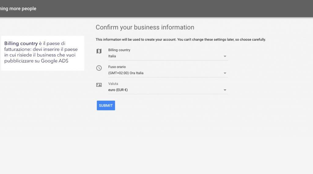 Conferma le informazioni del tuo business