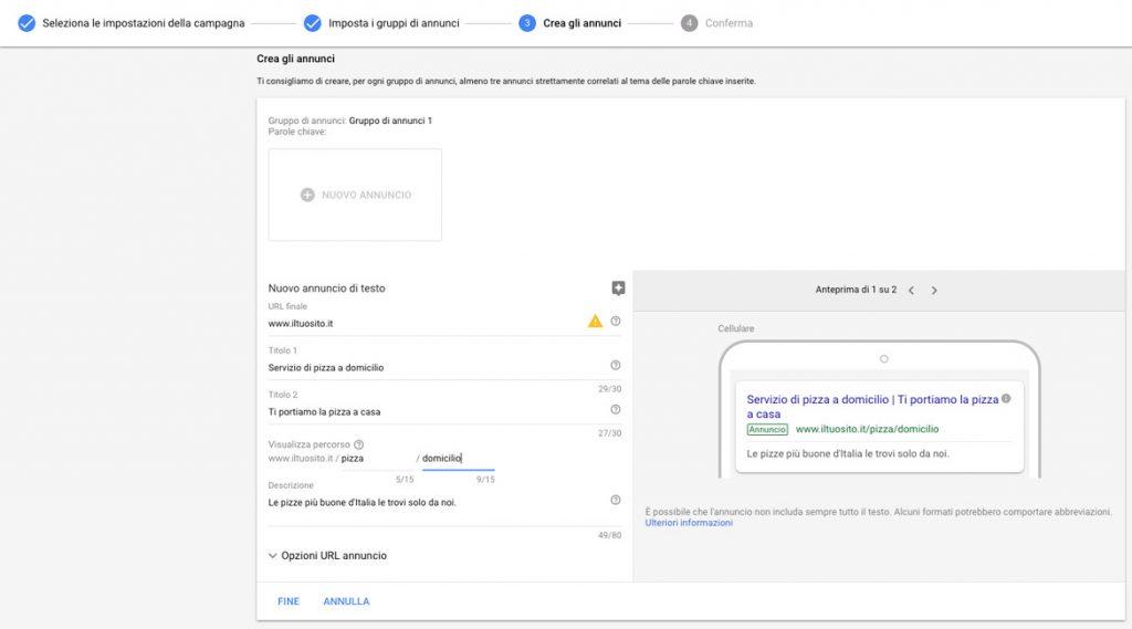 Creazione annunci Google ADS